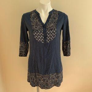 Mixed Pattern Boho Henley Shirt Dress
